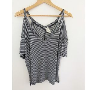 FP We The Free Striped Cold Shoulder Slouchy Tee